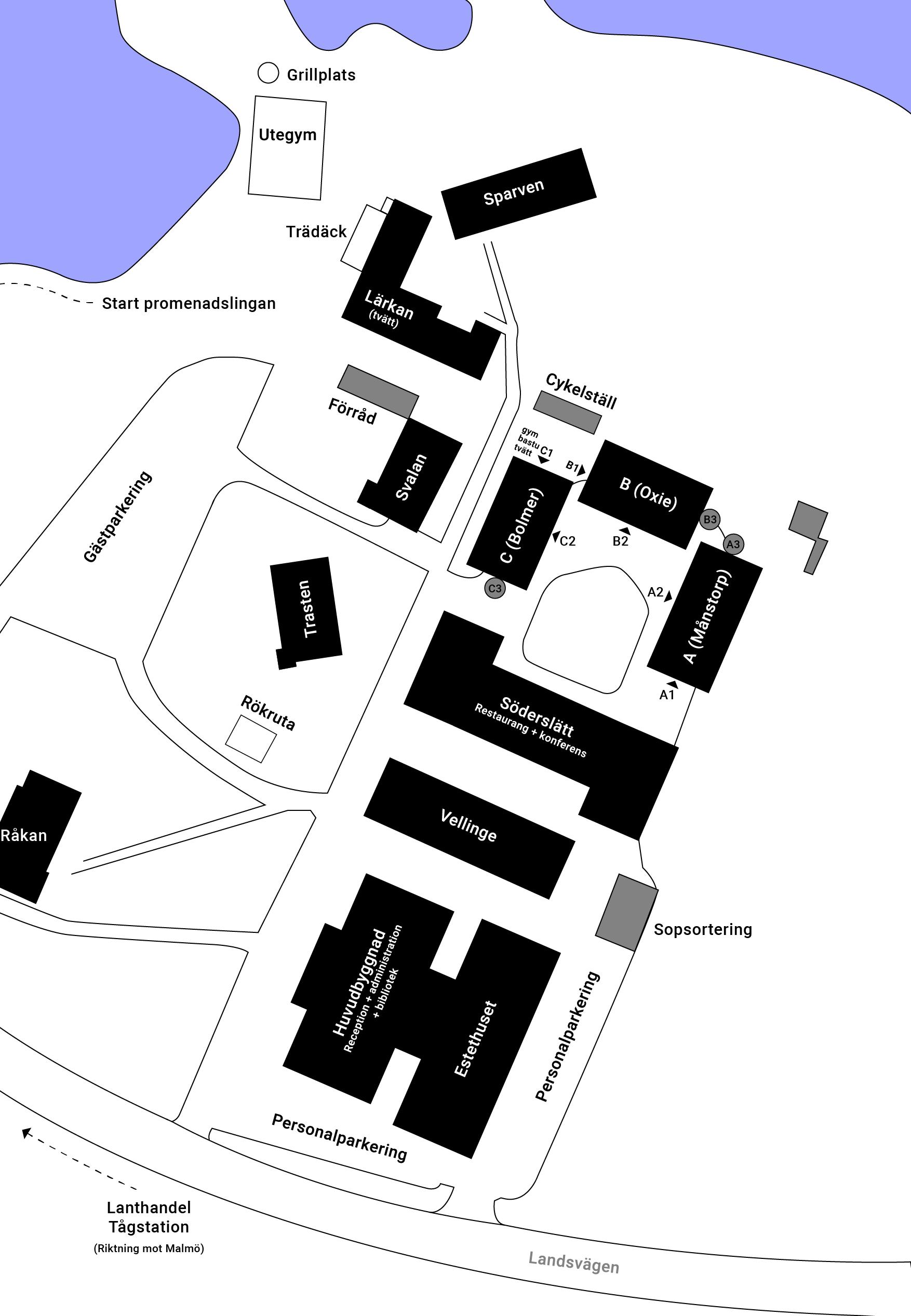 Karta över Östra Grevie folkhögskola med internat