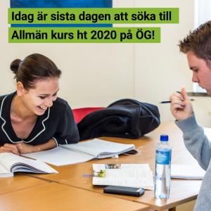 Sista ansökningsdag för Allmän kurs ht 2020 på Östra Grevie!
